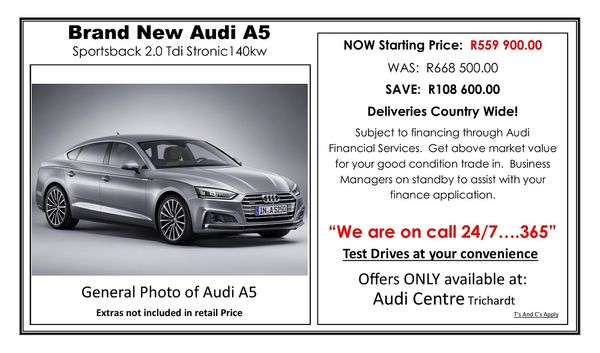 2019 Audi A5 Sportback 2.0 TDI S-Tronic Mpumalanga Trichardt_0