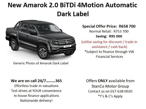 2020 Volkswagen Amarok 2.0 BiTDi Dark Label 4MOT Auto Double Cab Bakkie Mpumalanga Trichardt_0